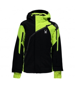 Spyder Challenger Ski Jacket-Black Yellow Polar