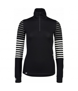 Mons Royale Cornice Half Zip-Black Thick Stripe Thin Stripe