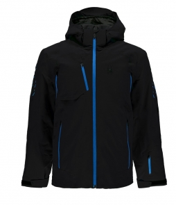 Spyder Pinnacle Ski Jacket-Black French Blue