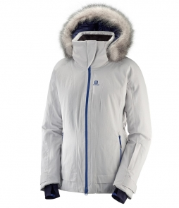Salomon Weekend Jacket-Vapor Heather w Faux Fur
