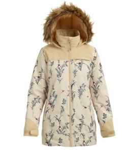 Burton Lelah Jacket-Canvas Birds Pebble