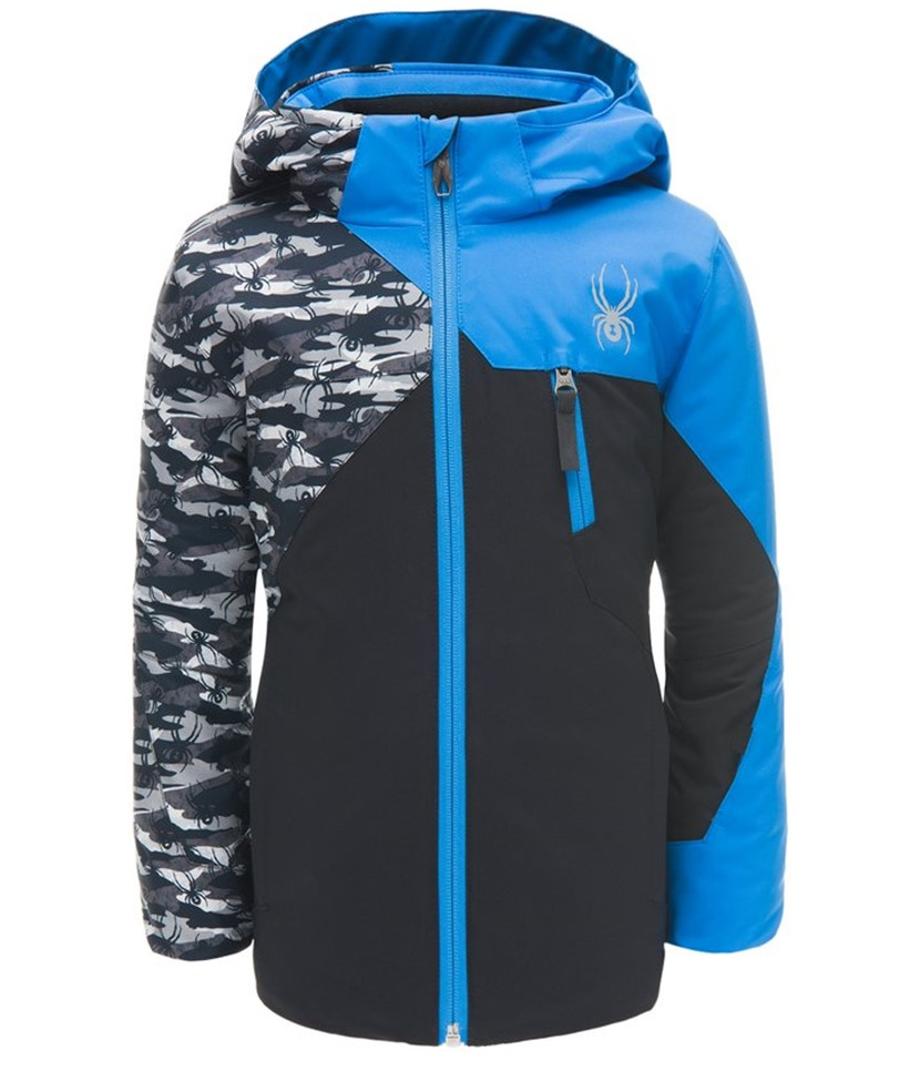 Spyder Mini Ambush Ski Jacket-Black Blue