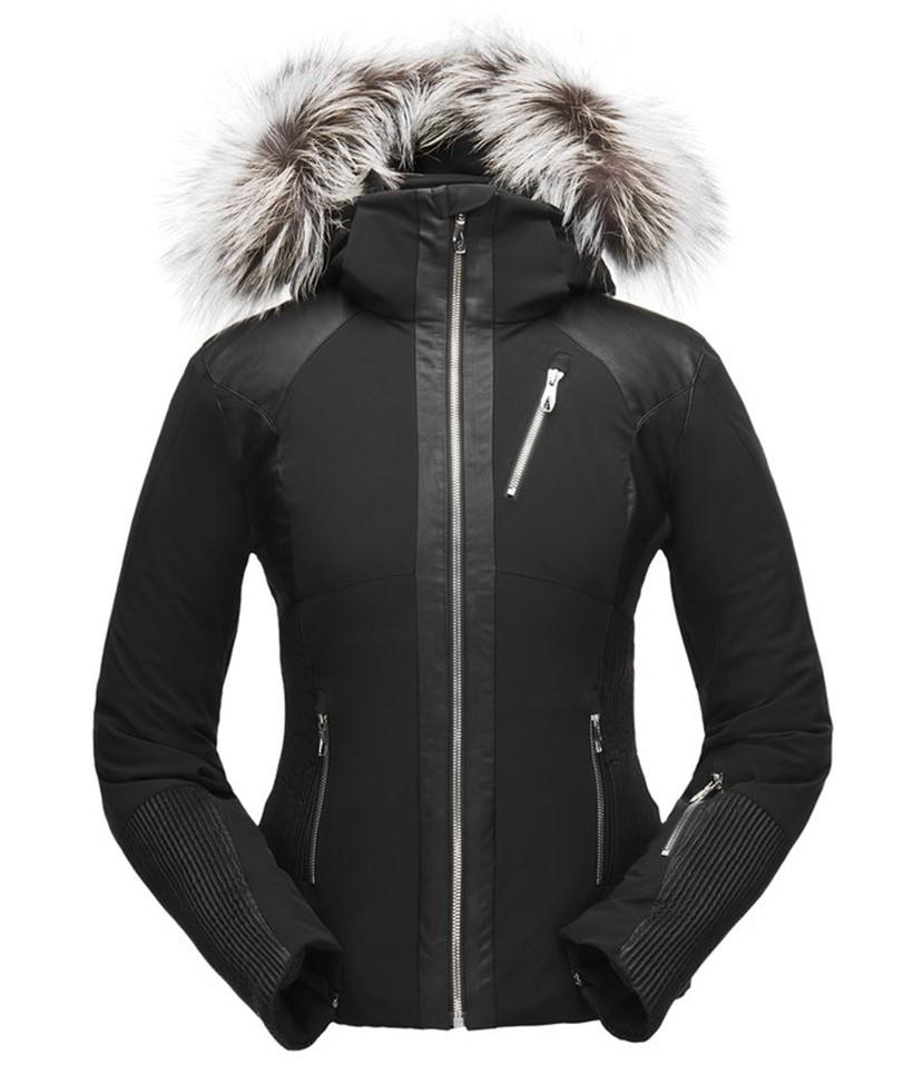 Spyder Amour Real Fur Ski Jacket-Black