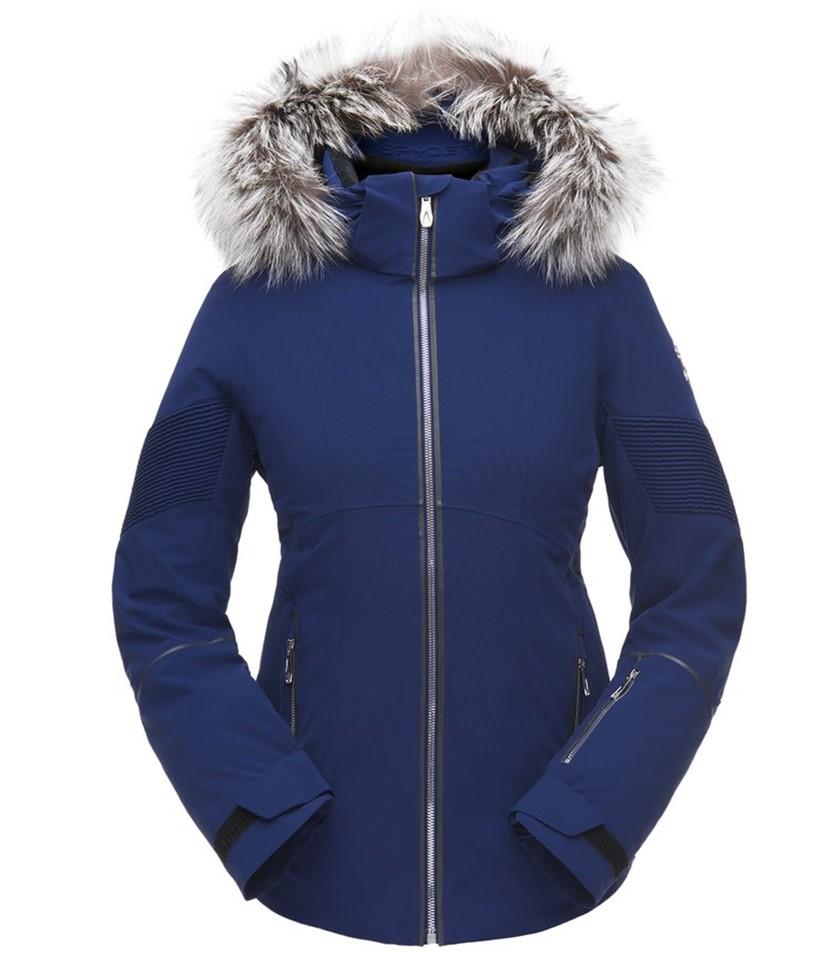 Spyder Diabla Real Fur Ski Jacket-Blue Depths