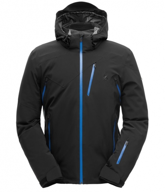 Spyder Cordin Ski Jacket-Black Turkish Blue