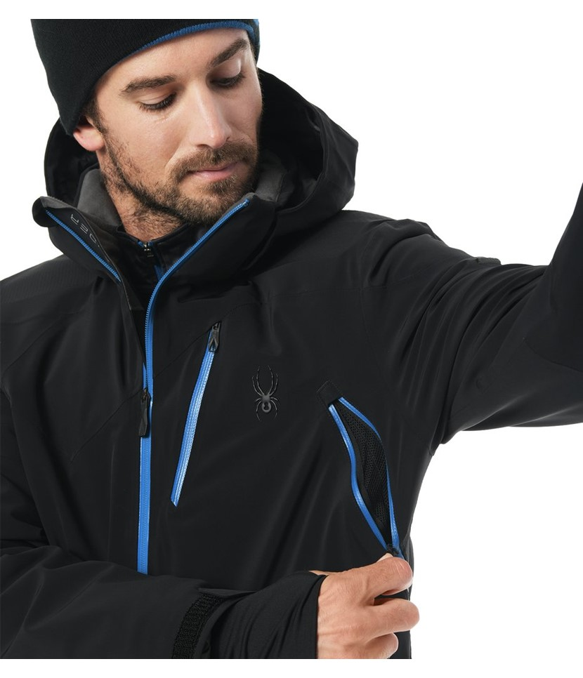 Spyder Cordin Ski Jacket-Black Turkish Blue 3.