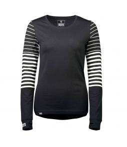 Mons Royale Cornice LS Top Black Thick Stripe Thin Stripe