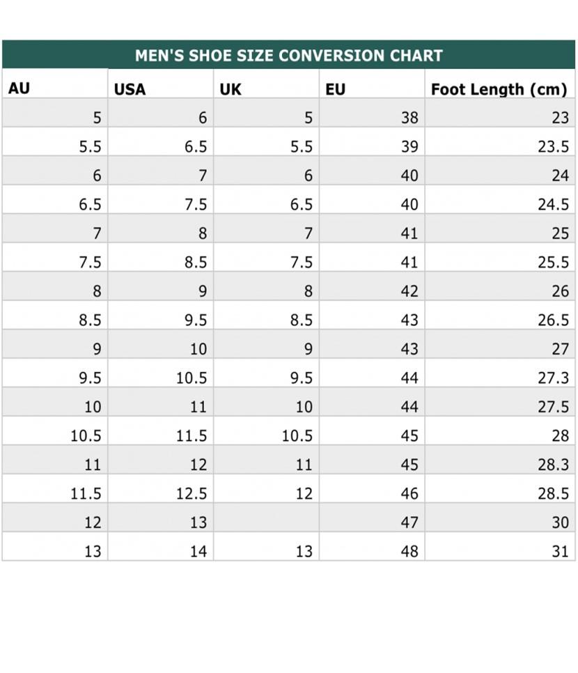 Men's Shoe Size Chart